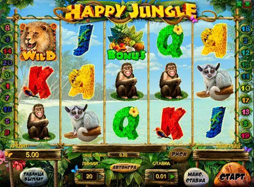 Параметры игрового автомата Happy Jungle из клуба Вулкан Делюкс
