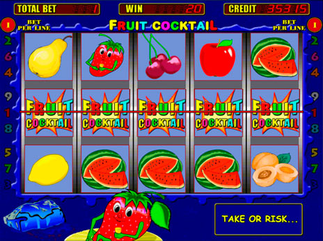 Элементы геймплея игры Fruit Cocktail с сайта известного казино Фараон